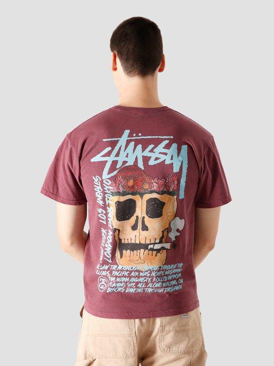 Stussy Smokin' Skull Pig. Dyed T-Shirt Wine 1904593-0606