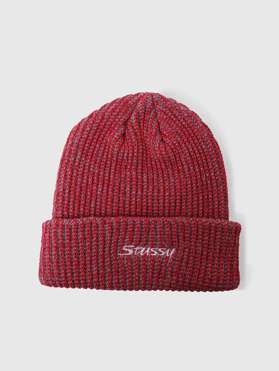 Stussy 2 Tone Knit Short Beanie Red 132987-0601