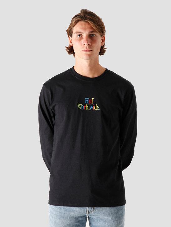 HUF Woz Embroidery Longsleeve Black TS01182-BLACK