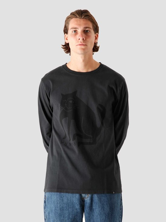 by Parra Cat Long Sleeve T-Shirt Washed Black 44285