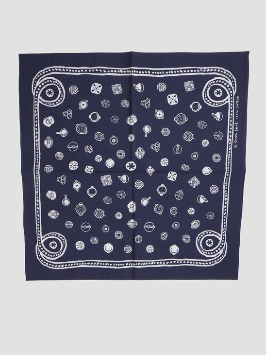 Snow Peak Organic Cotton SP Dot Bandana Navy UG-886