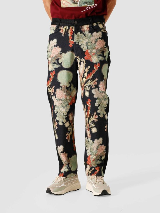 Daily Paper Van Josha Pants Washed Black Denim Floral 2041011