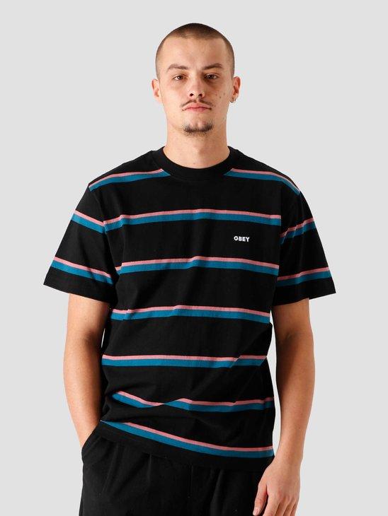 Obey Ideals Wide Stripe T-Shirt Black Multi 131080279BKM
