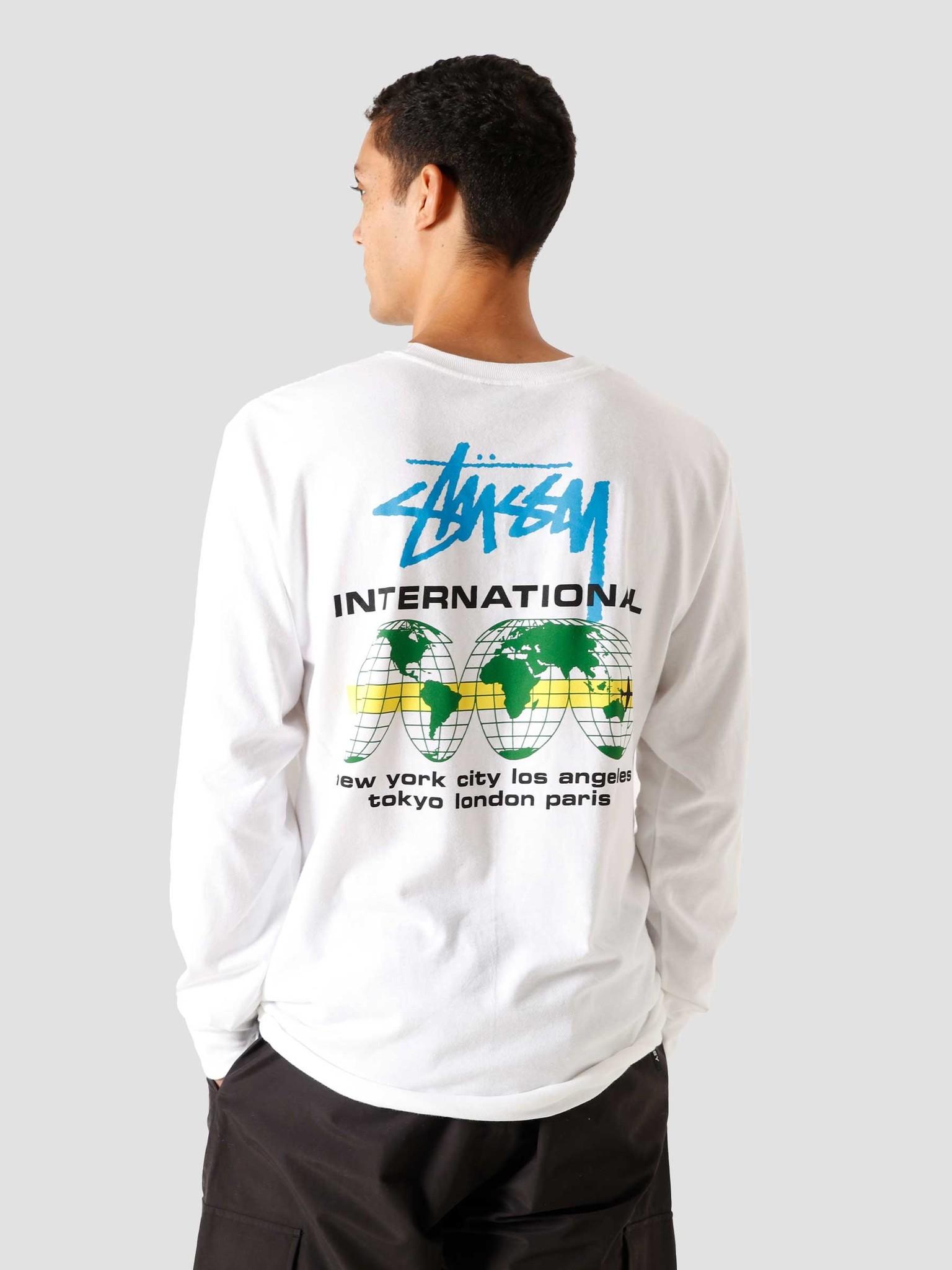 Stussy Stock Longsleeve T Shirt White 1201 | FRESHCOTTON