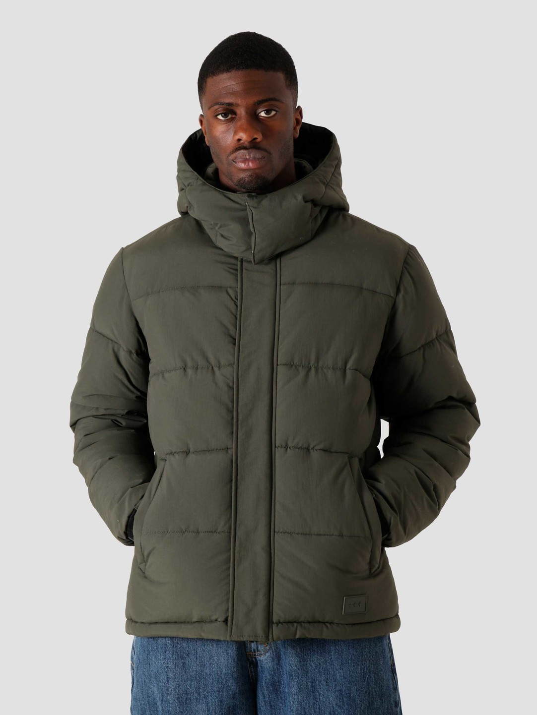 Quality Blanks Quality Blanks QB210 Hooded Puffer Military Green