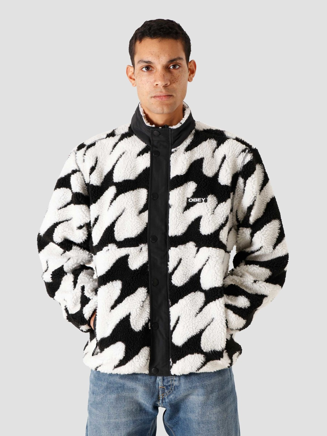 Obey Obey Hense Sherpa Jacket Jackets Black Multi 121800430BKM