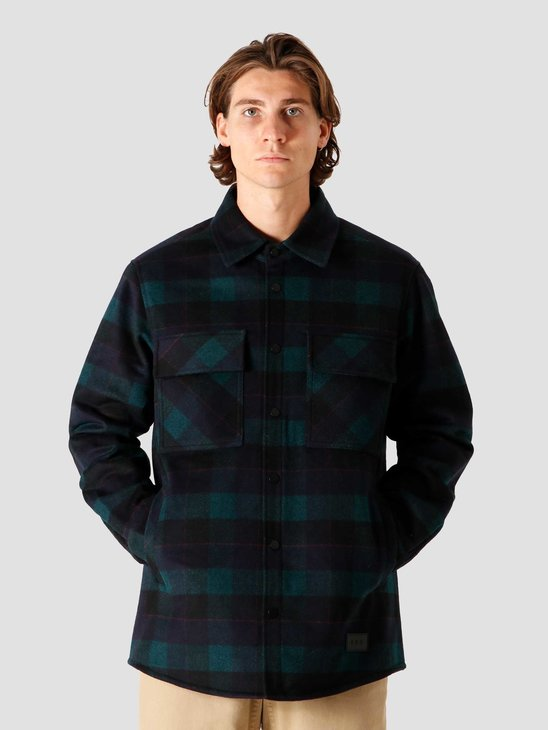 Quality Blanks QB44 Plaid Down Shirt Navy Green