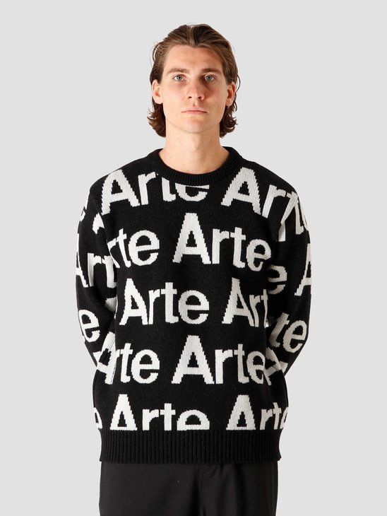 Arte Antwerp Kameron Allover Knit Sweater Black/White AW20-078KS