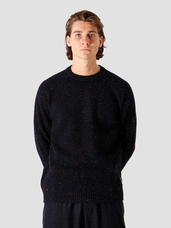 Carhartt WIP Anglistic Sweater Dark Navy Heather I010977-VE90