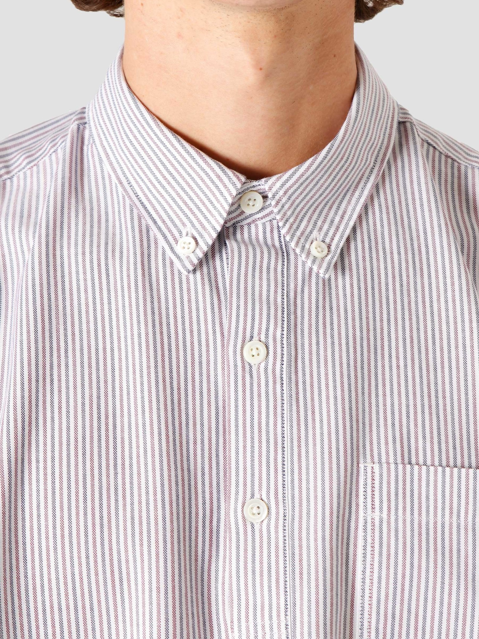 Norse Projects Norse Projects Oscar Oxford Shirt Eggplant Dark Navy Stripe N40-0514-2062