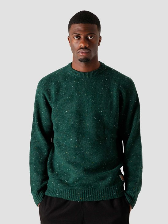 Carhartt WIP Anglistic Sweater Bottle Green Heather I010977-VD00