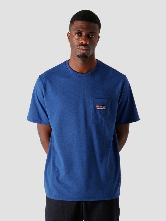 Patagonia M's Boardshort Label Pocket Responsibili T-Shirt Superior Blue 38510