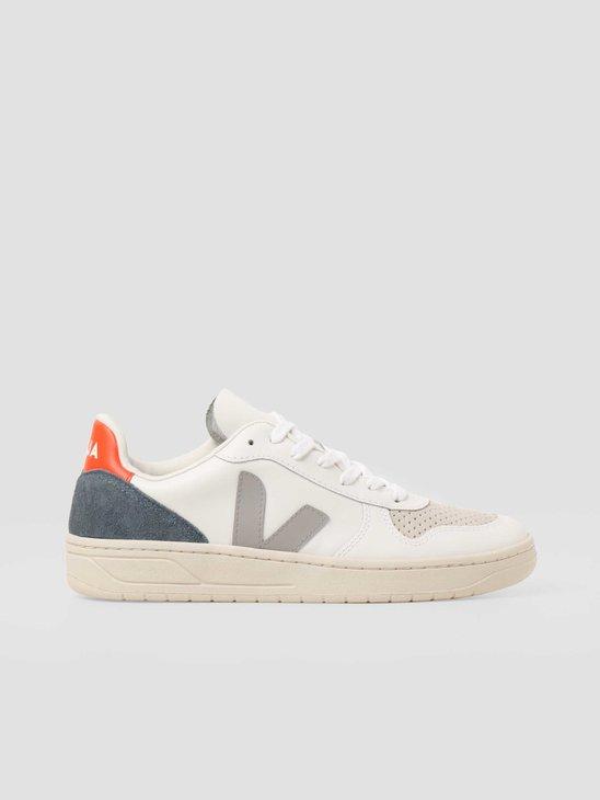 Veja V10 Leather Extra White Oxford Grey Orange Fluo VX022303B