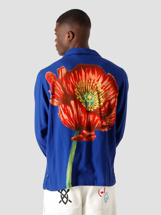 Stussy Big Poppy Longsleeve Shirt Blue 6205302070-0801