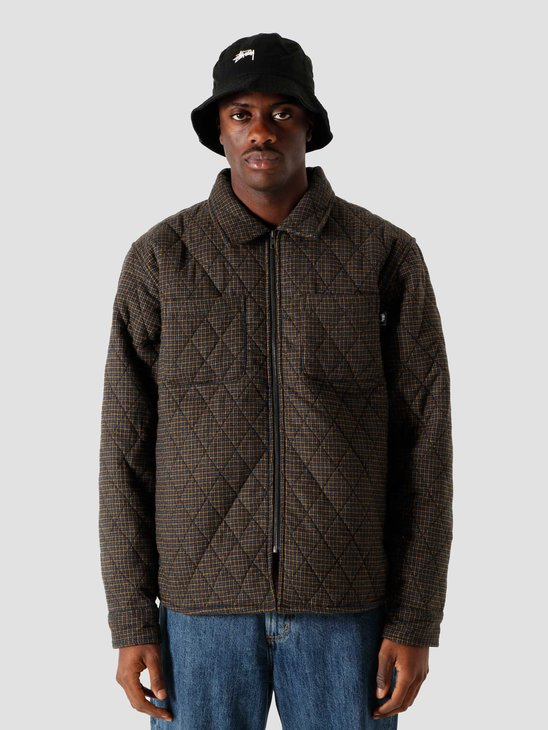 Stussy Mini Check Quilted Zip Shirt Black 6205202066-0001