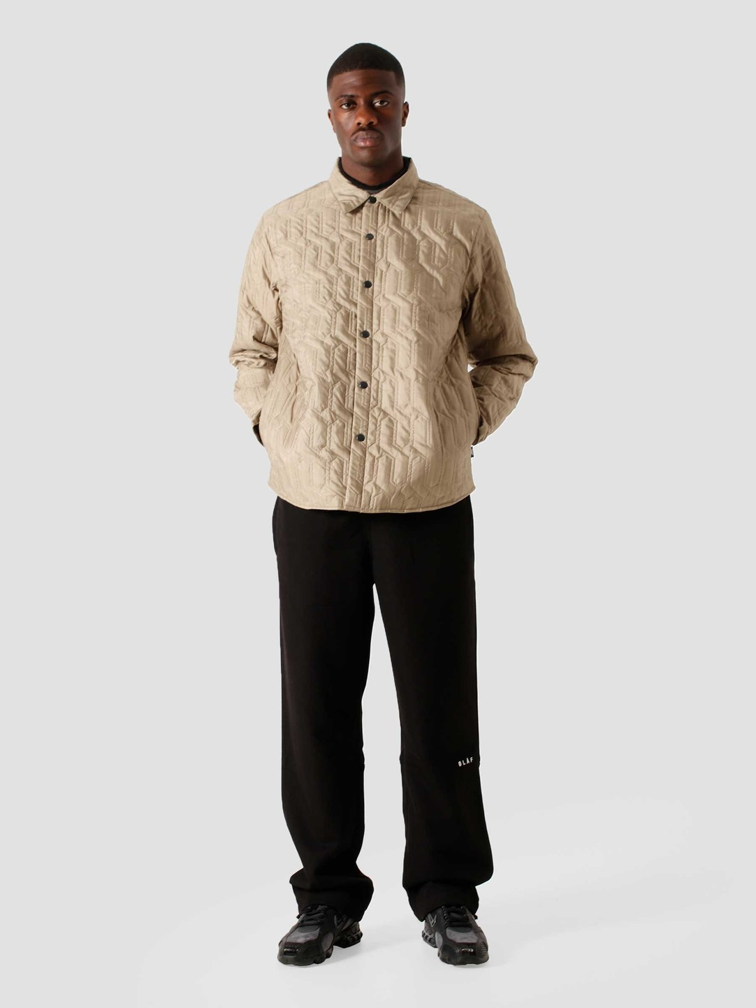 Stussy Stussy Quilted Insulated Longsleeve Shirt Beige 6205302070-1032