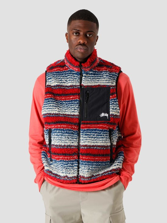 Stussy Striped Sherpa Vest Multi 6110304041-1408