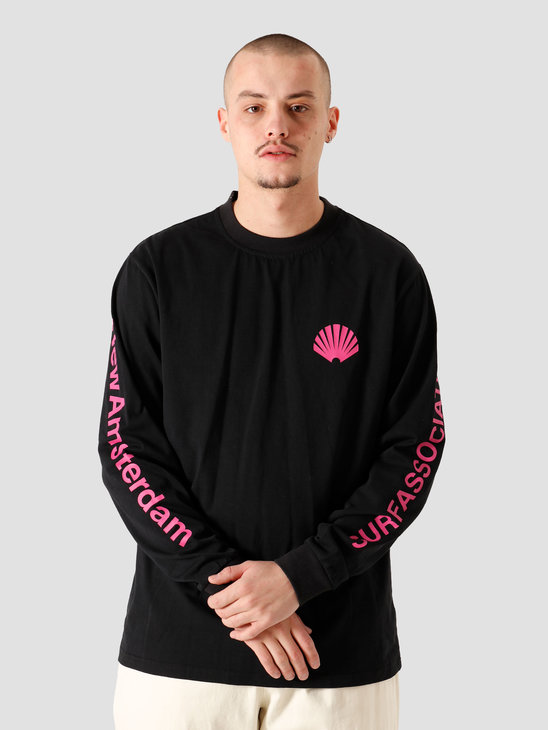 New Amsterdam Surf association Logo Longsleeve Black Magenta 2021019