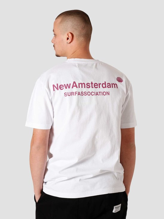New Amsterdam Surf association Logo T-Shirt White Magenta 2021016