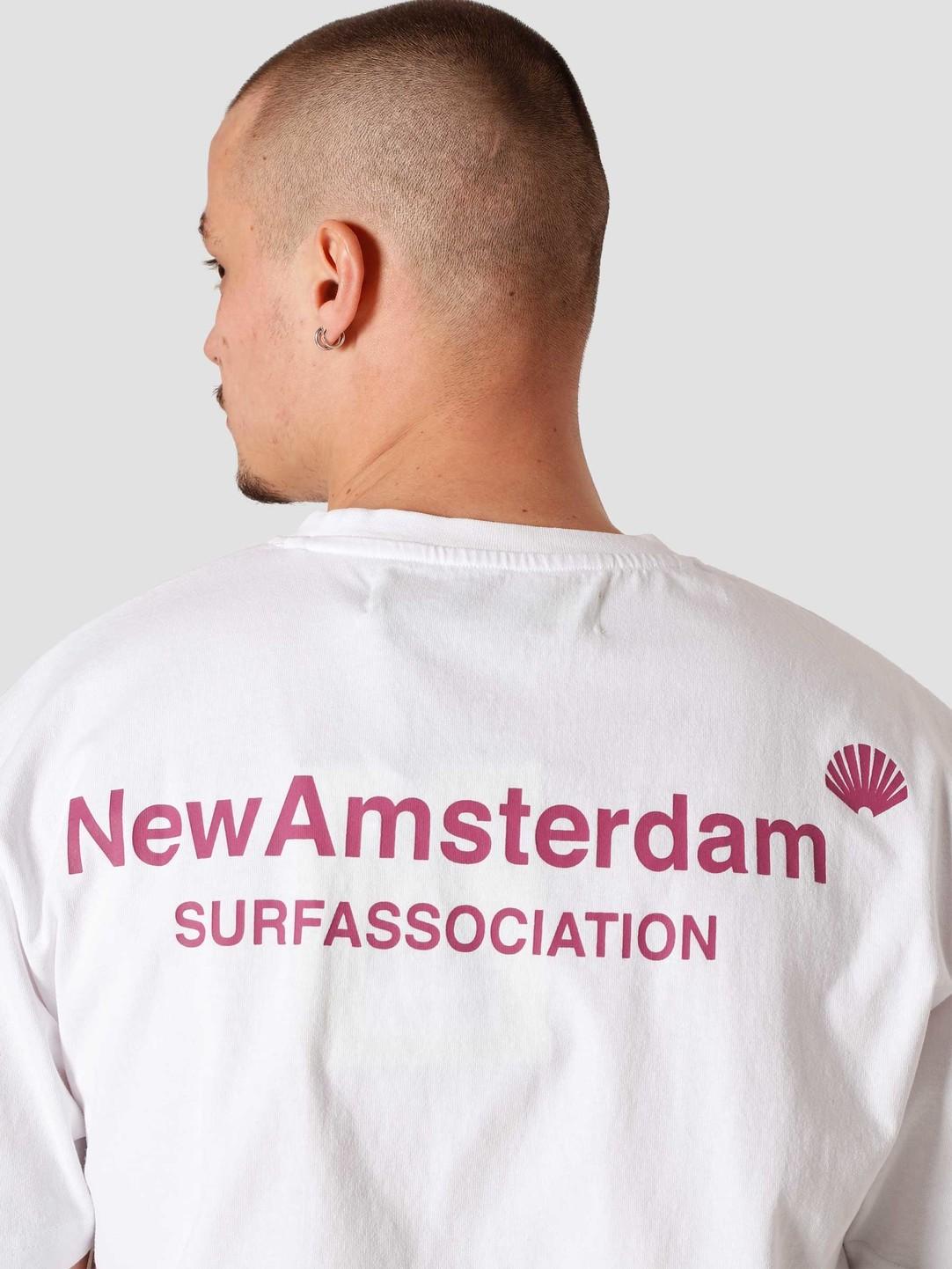 New Amsterdam Surf Association New Amsterdam Surf association Logo T-Shirt White Magenta 2021016