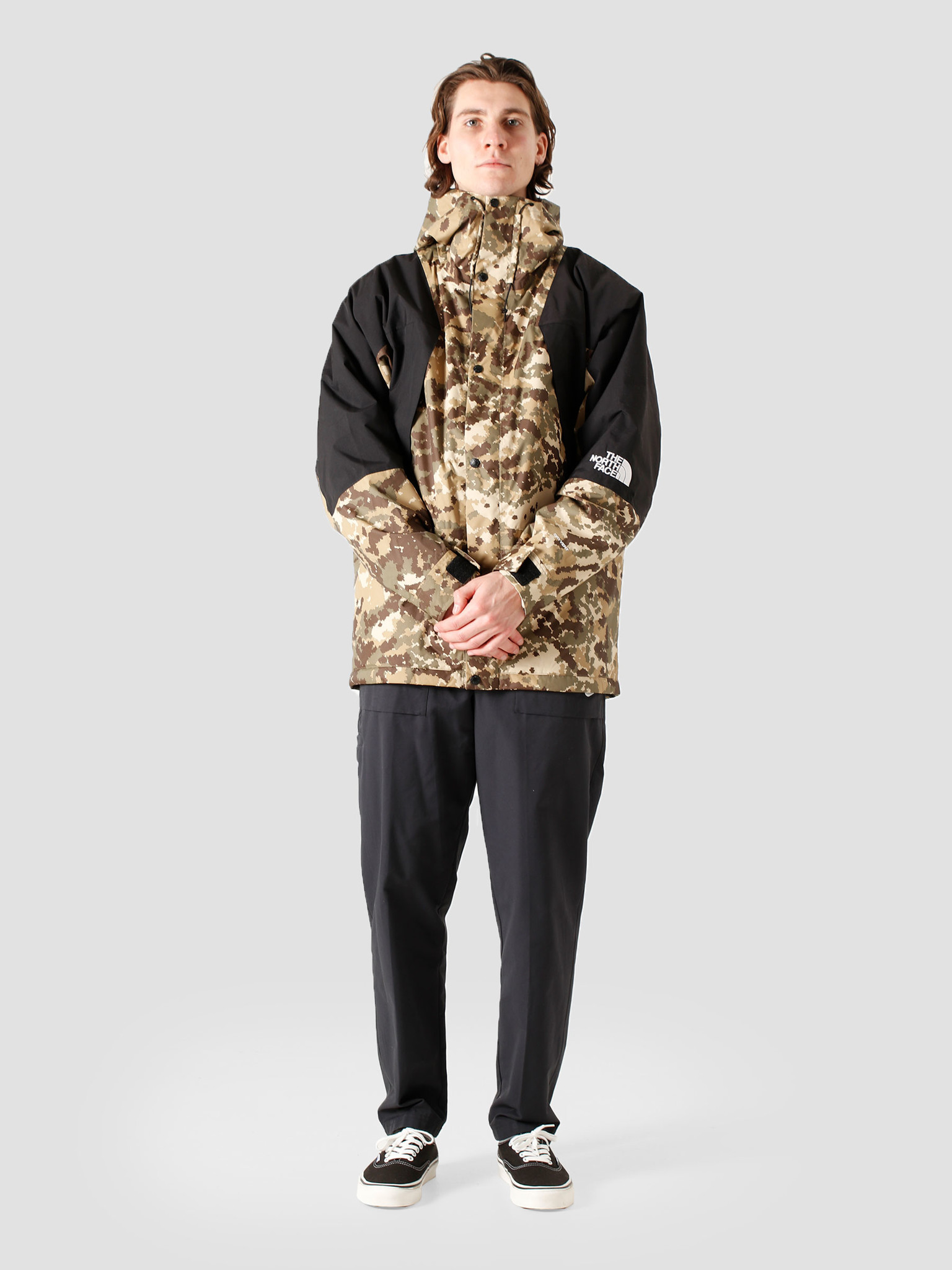 The North Face The North Face Mountain Light DryVent Jacket Burnt Olive Green Digital Camo Print NF0A3XY5SX1