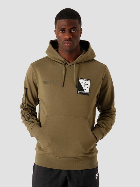The North Face Steep Tech Logo Hoodie Burnt Olive Green NF0A4SYI7D6