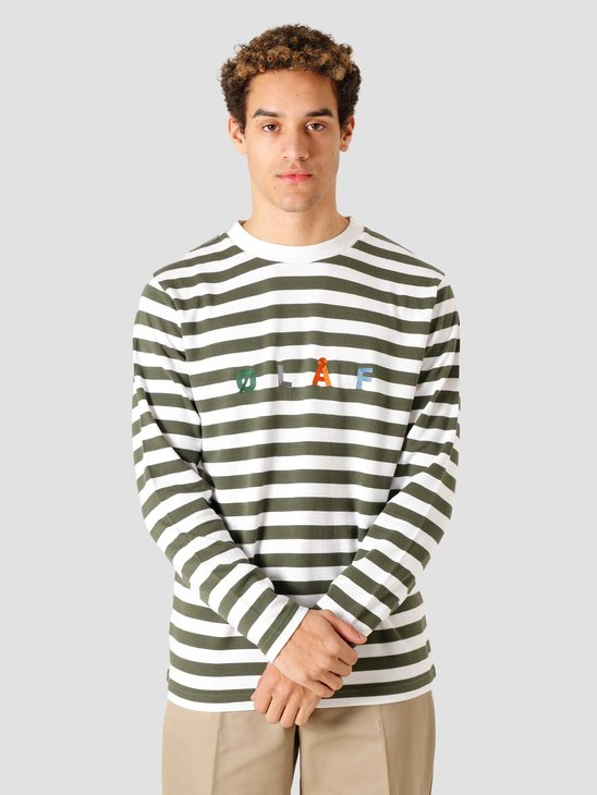 Olaf Hussein OH Stripe Sans Longsleeve T-Shirt Sage White