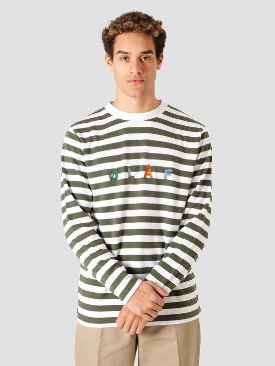 Olaf Hussein OH Stripe Sans Longsleeve T-Shirt Sage White