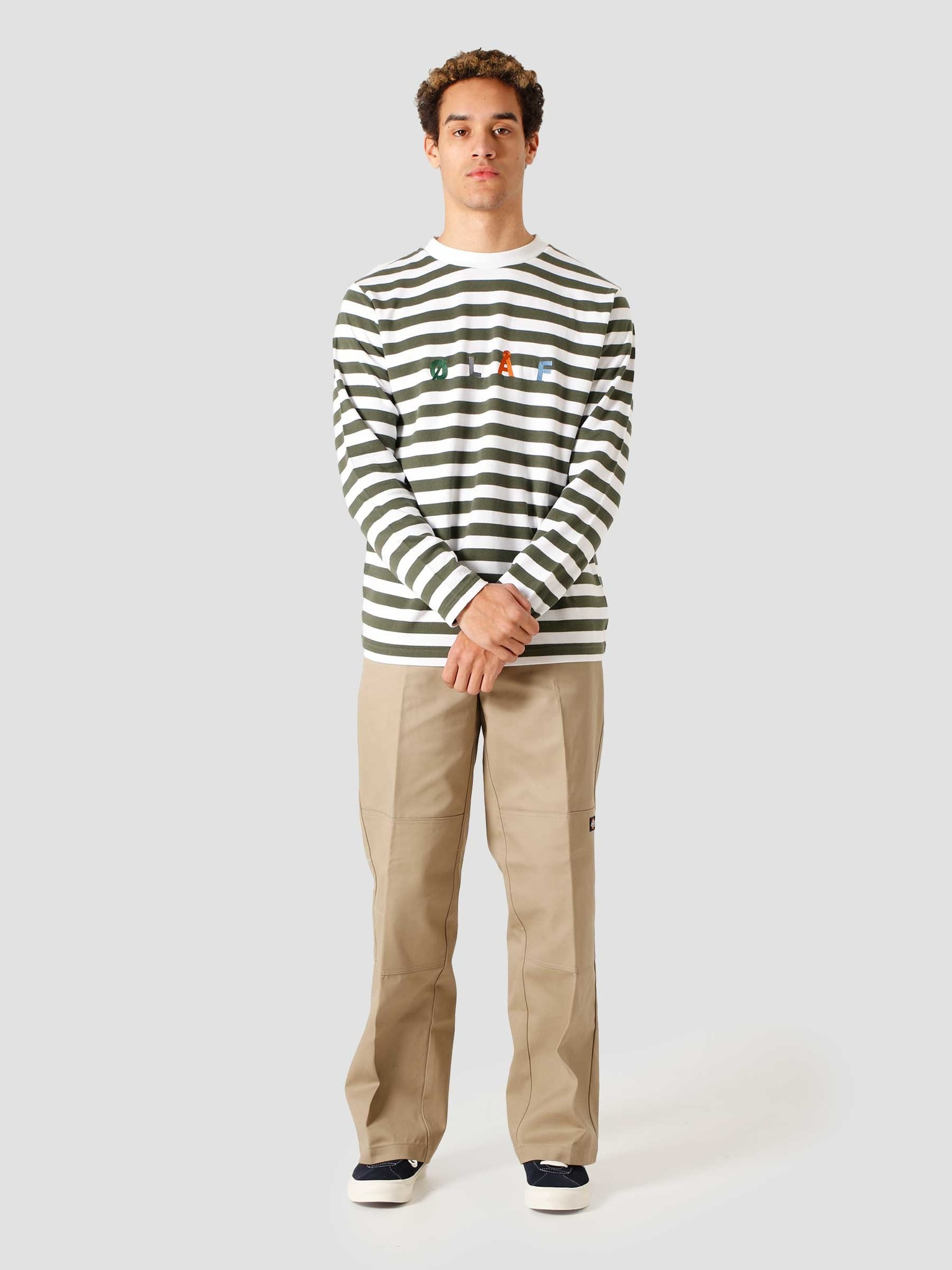 Olaf Hussein Olaf Hussein OH Stripe Sans Longsleeve T-Shirt Sage White