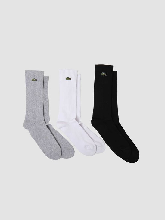 Lacoste 2G1C Socks 11 Silver Chine White Black RA2099-11