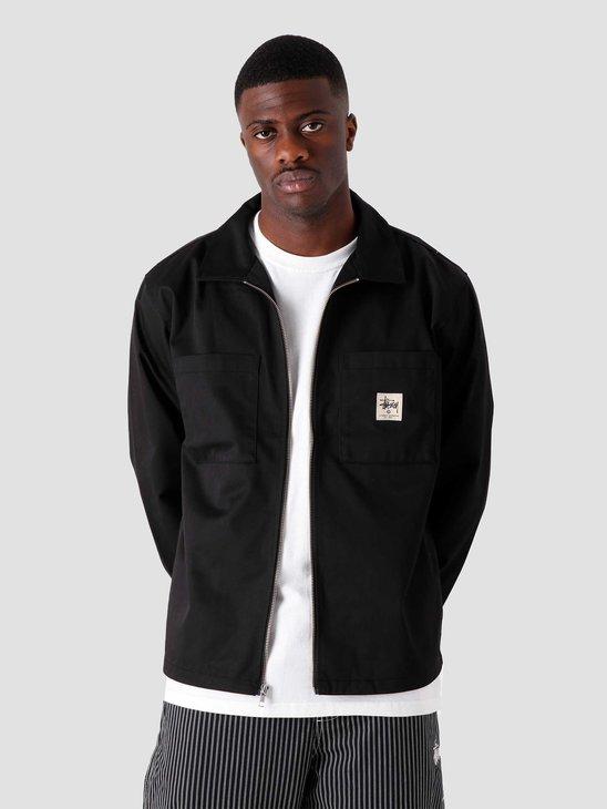 Stussy Zip Up Work Longsleeve Shirt Black 1110183-0001