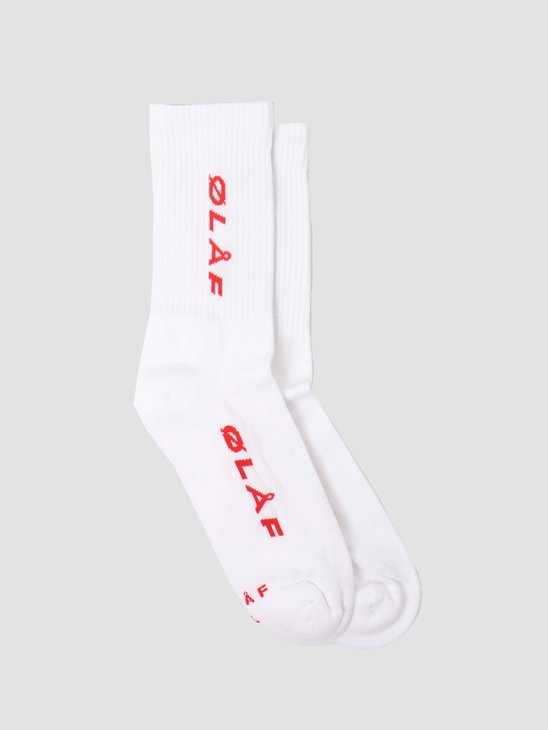 Olaf Hussein OH Italic Socks White