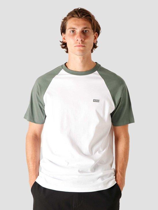 Quality Blanks QB07 Patch Logo Baseball T-shirt Light Olive/White
