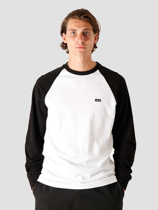Quality Blanks QB09 Patch Logo Baseball Longsleeve Black/White