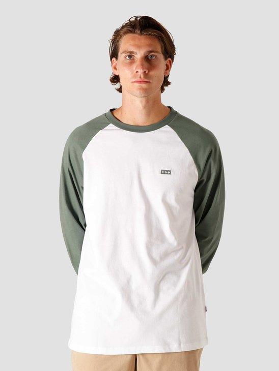 Quality Blanks QB09 Patch Logo Baseball Longsleeve Light Olive/White