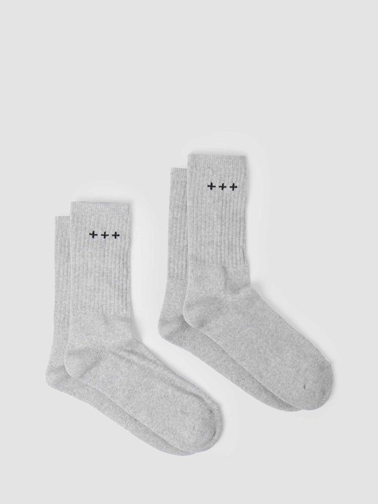 Quality Blanks QB13 2 Pack Logo Socks Grey