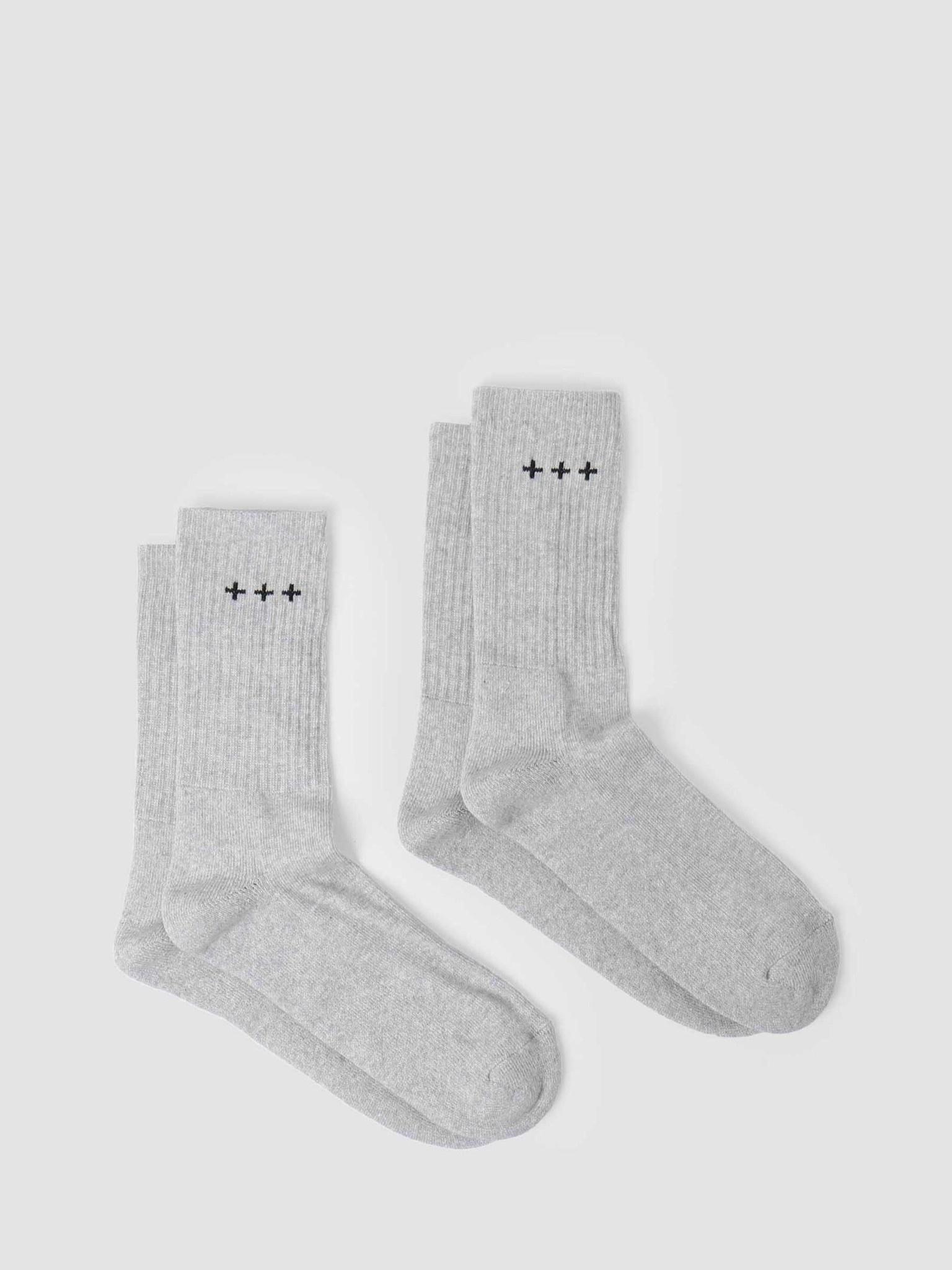Quality Blanks Quality Blanks QB13 2 Pack Logo Socks Grey