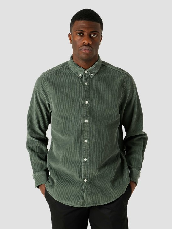 Quality Blanks QB41 Cord Shirt Olive Green