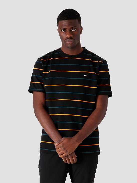 Quality Blanks QB601 Heavyweight Stripe T-shirt Black Yellow Green