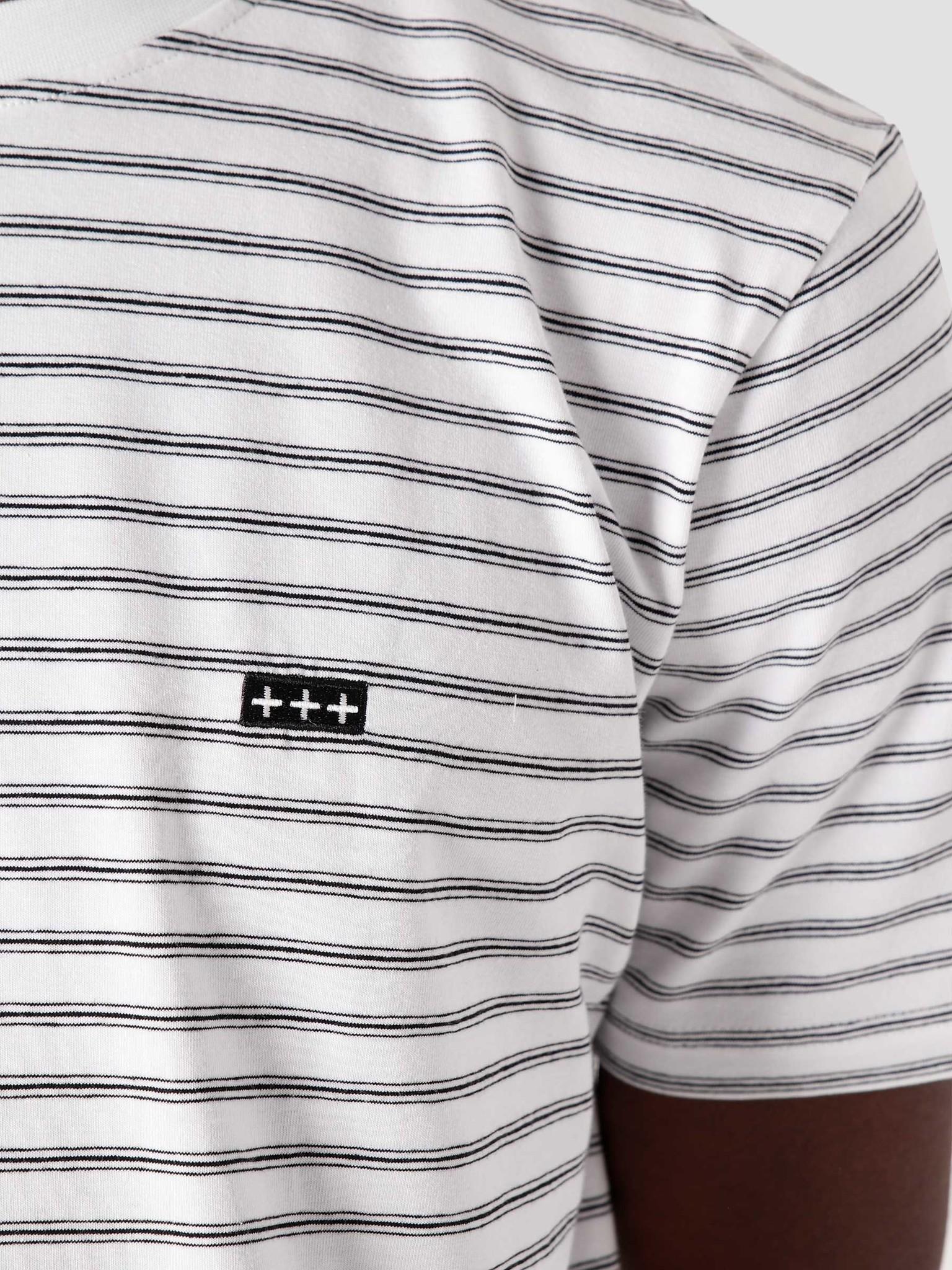 Quality Blanks Quality Blanks QB601 Stripe T-shirt White Navy