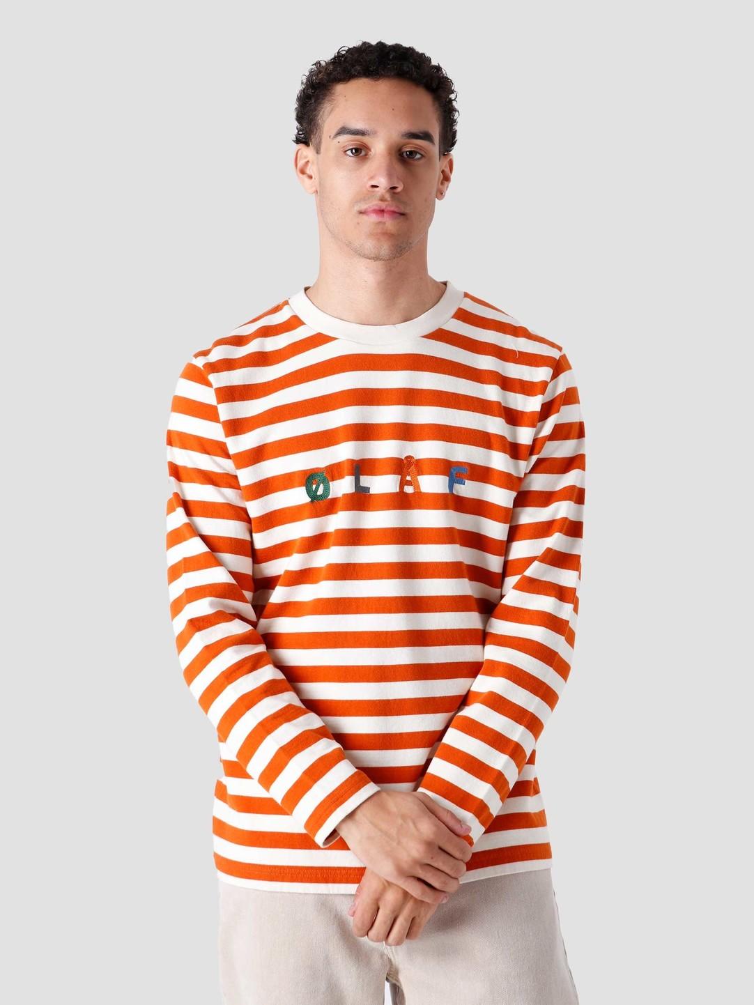 Olaf Hussein Olaf Hussein OH Stripe Sans Longsleeve T-Shirt Burnt Orange White