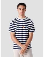 Olaf Hussein Olaf Hussein Stripe Sans T-Shirt White Blue
