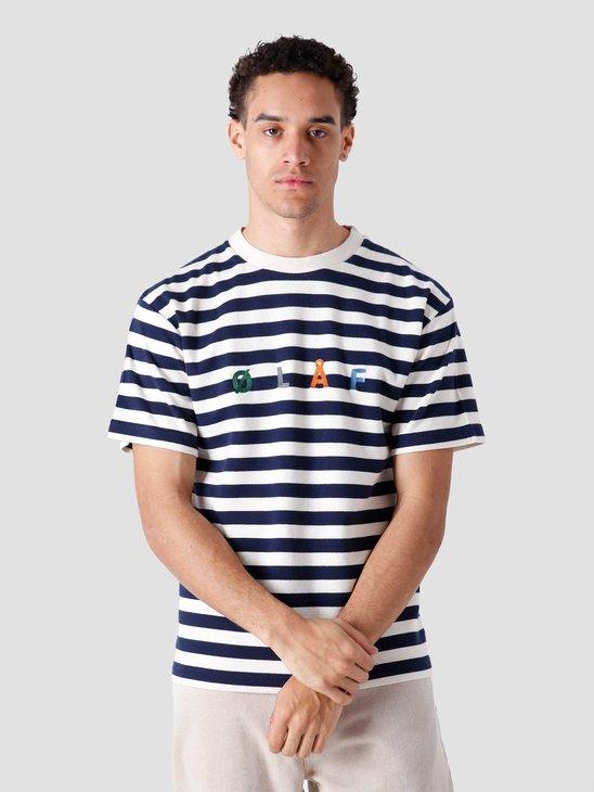 Olaf Hussein Stripe Sans T-Shirt White Blue