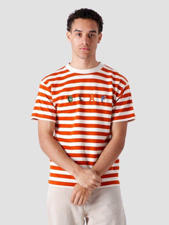 Olaf Hussein Stripe Sans T-Shirt White Orange