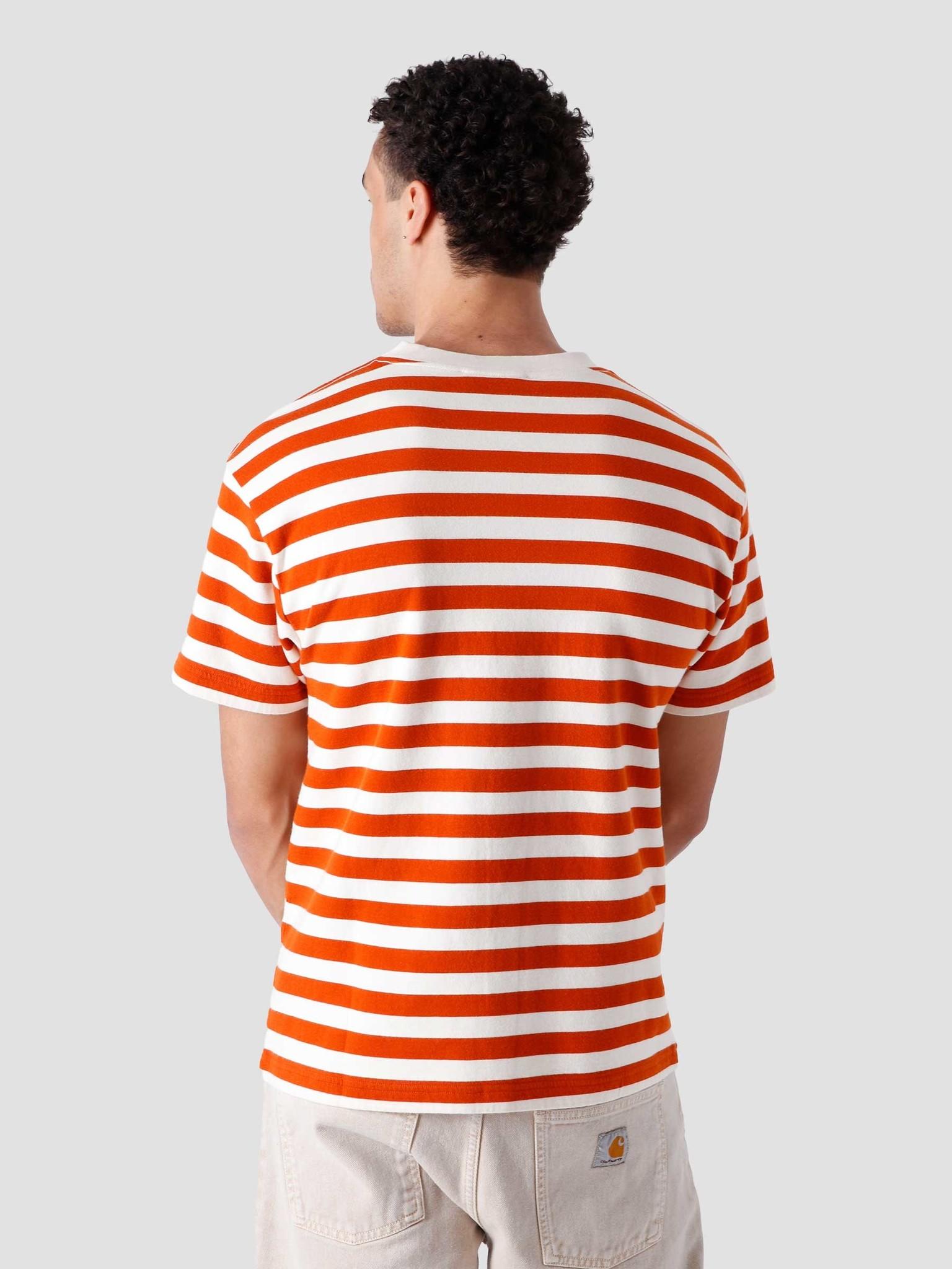 Olaf Hussein Olaf Hussein Stripe Sans T-Shirt White Orange