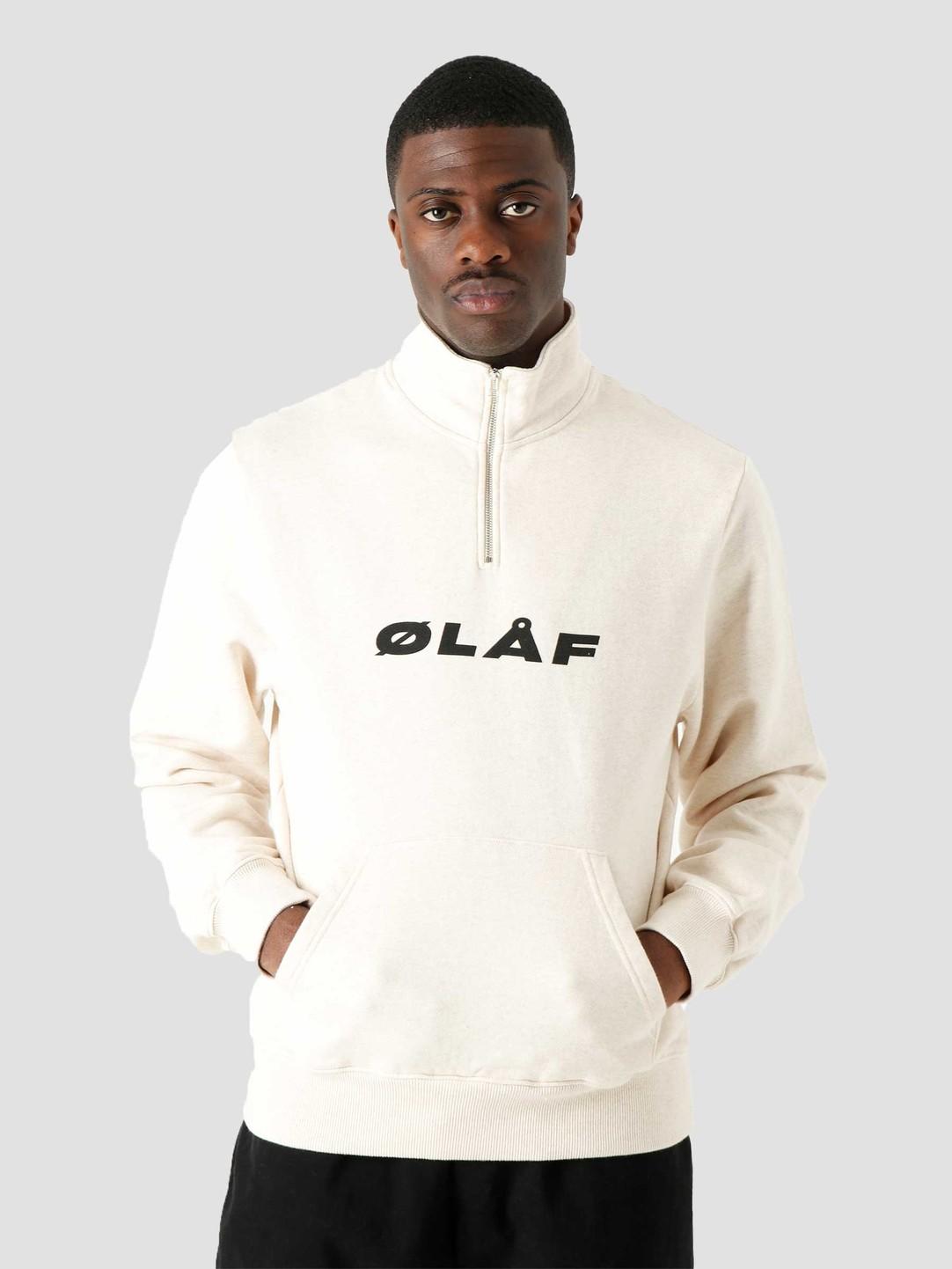 Olaf Hussein Olaf Hussein OH Italic Zip Mock Ecru Heather