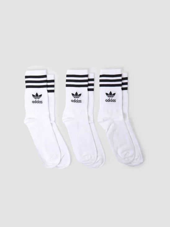 adidas U Mid Cut Crew Sock White Black GD3575