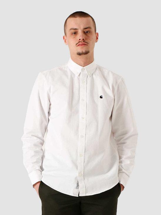 Carhartt WIP LS Madison Shirt White Black I023339-294
