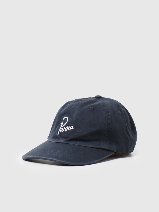 by Parra Washed Signature Logo Hat Navy Blue 45400