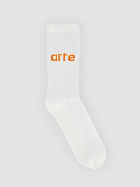 Arte Antwerp Logo Sock White Orange 076SK